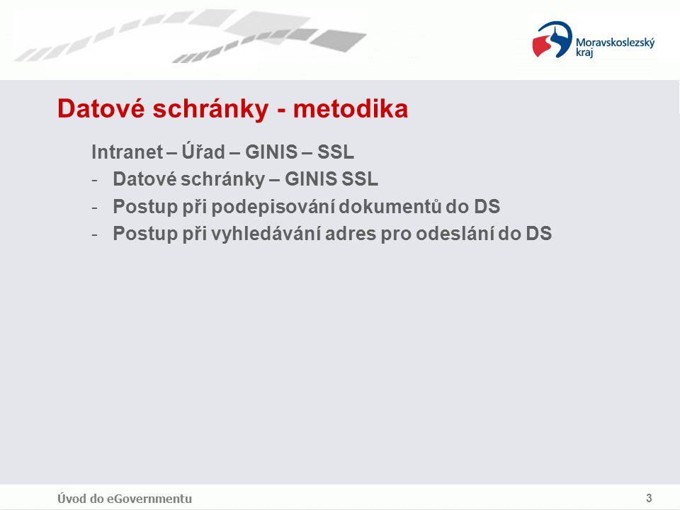 Úvod do eGovernmentu 3 Datové schránky - metodika Intranet – Úřad – GINIS – SSL -Datové schránky – GINIS SSL -Postup při podepisování dokumentů do DS -Postup při vyhledávání adres pro odeslání do DS