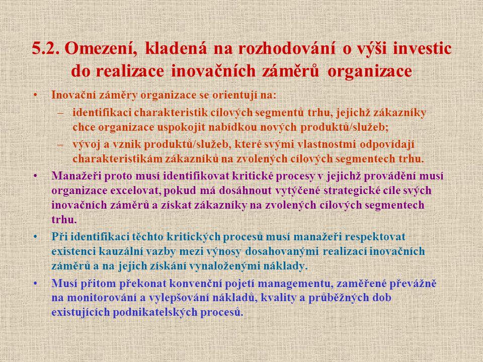5.2. Omezení, kladená na rozhodování o výši investic do realizace inovačních záměrů organizace Inovační záměry organizace se orientují na: –identifika