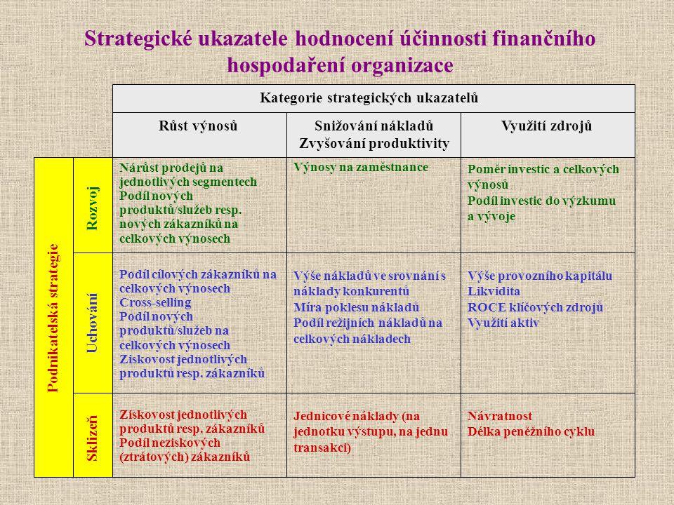 Strategické ukazatele hodnocení účinnosti finančního hospodaření organizace Podnikatelská strategie Nárůst prodejů na jednotlivých segmentech Podíl no