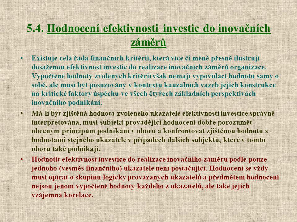 5.4. Hodnocení efektivnosti investic do inovačních záměrů Existuje celá řada finančních kritérií, která více či méně přesně ilustrují dosaženou efekti