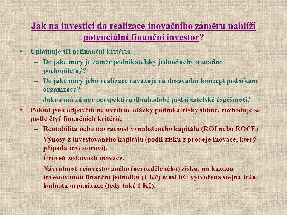 Jak na investici do realizace inovačního záměru nahlíží potenciální finanční investor? Uplatňuje tři nefinanční kritéria: –Do jaké míry je záměr podni