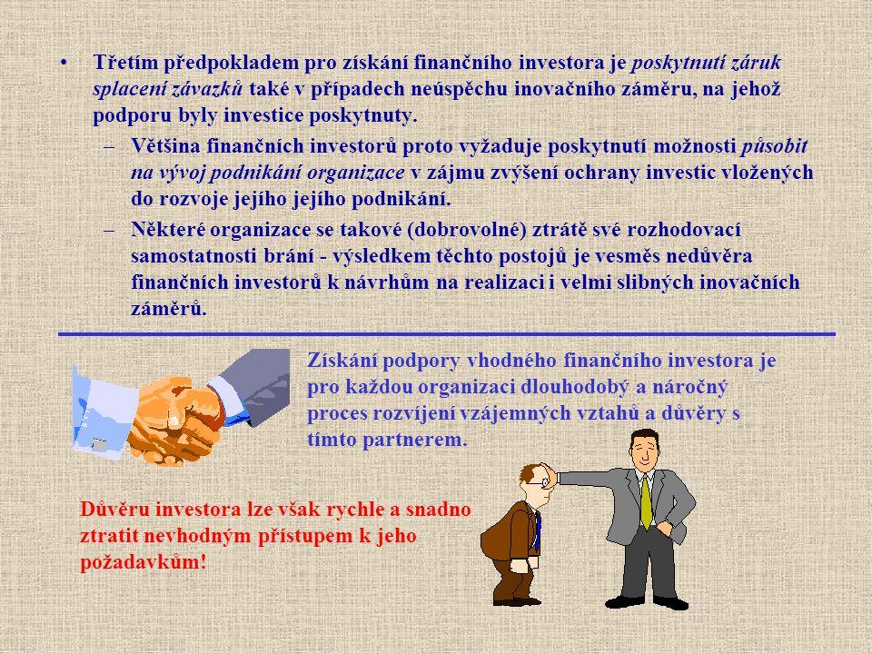Třetím předpokladem pro získání finančního investora je poskytnutí záruk splacení závazků také v případech neúspěchu inovačního záměru, na jehož podpo