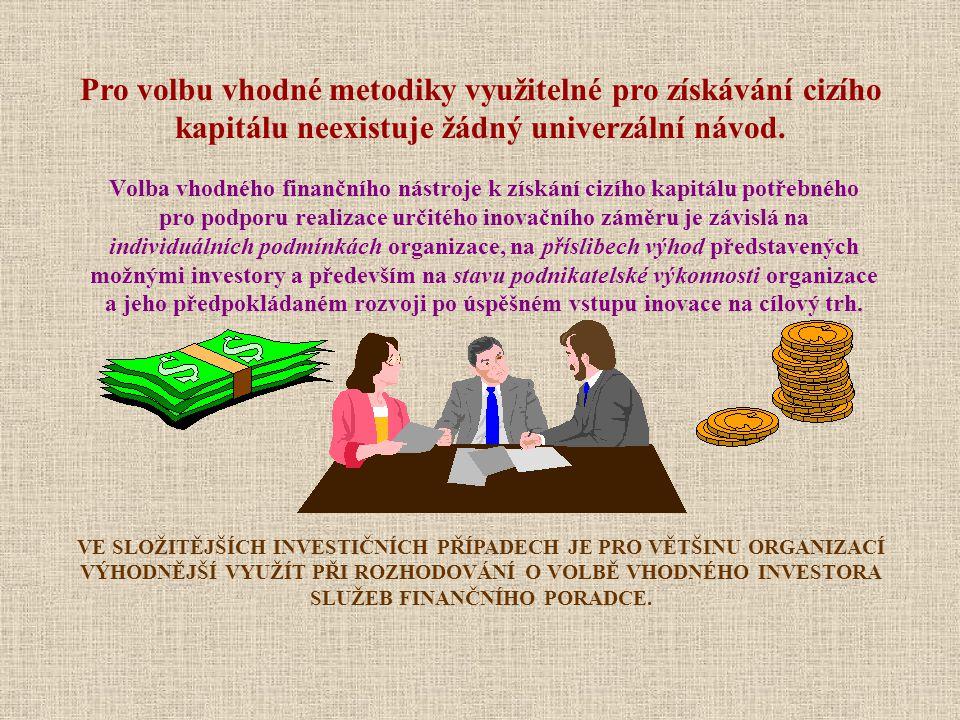 Volba vhodného finančního nástroje k získání cizího kapitálu potřebného pro podporu realizace určitého inovačního záměru je závislá na individuálních