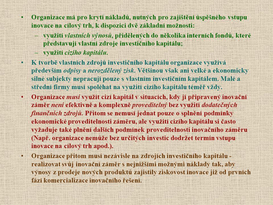 Institucionální podpora inovačních aktivit Zvýhodněné úvěry Českomoravské záruční a rozvojové banky Strukturální fondy EU ---------------------------------------------------------- Rizikový kapitál (přímé investice do inovačního podnikání) –Business Angels (pasivní investice) –Venture Capital (aktivní ovlivňování inovačního podnikání) –Burza (emise nových akcií) Podpora vývozu –EGAP –Záruka (Performance Bond) –Akreditiv ( záruka uskutečněn platby po splnění podmínek obchodního kontraktu)