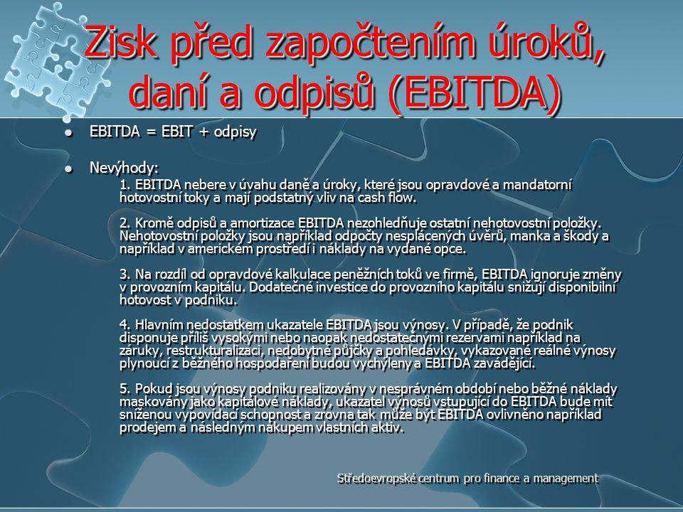 Zisk před započtením úroků, daní a odpisů (EBITDA) EBITDA = EBIT + odpisy Nevýhody: 1. EBITDA nebere v úvahu daně a úroky, které jsou opravdové a mand