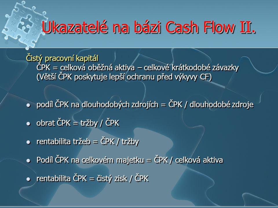 Ukazatelé na bázi Cash Flow II. Čistý pracovní kapitál ČPK = celková oběžná aktiva – celkové krátkodobé závazky (Větší ČPK poskytuje lepší ochranu pře