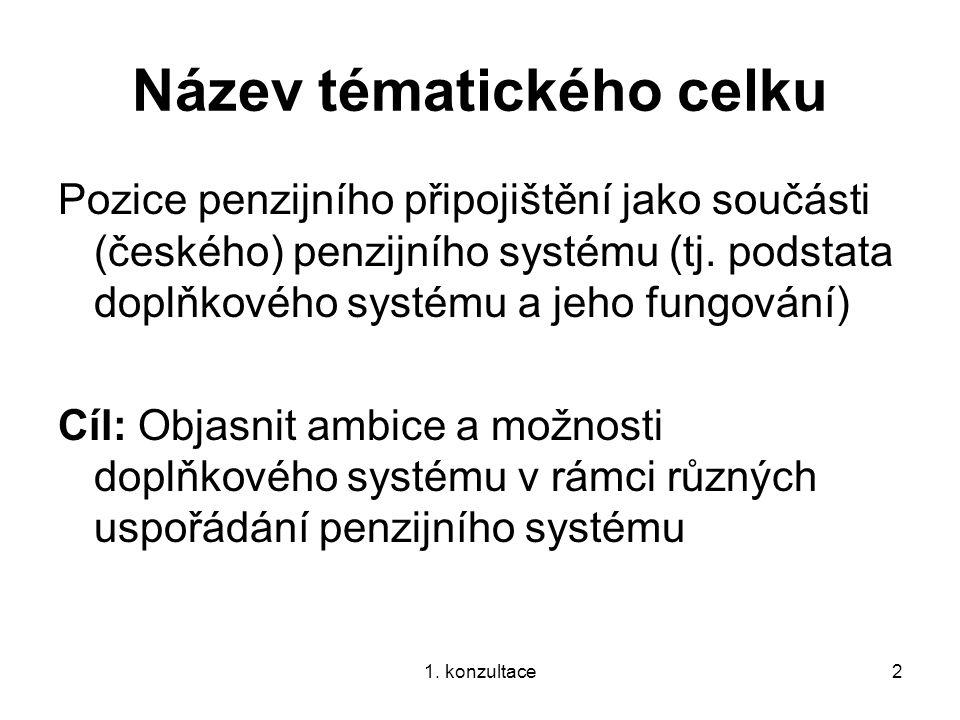 1. konzultace2 Název tématického celku Pozice penzijního připojištění jako součásti (českého) penzijního systému (tj. podstata doplňkového systému a j