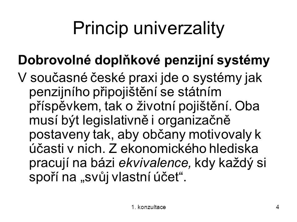 1. konzultace4 Princip univerzality Dobrovolné doplňkové penzijní systémy V současné české praxi jde o systémy jak penzijního připojištění se státním