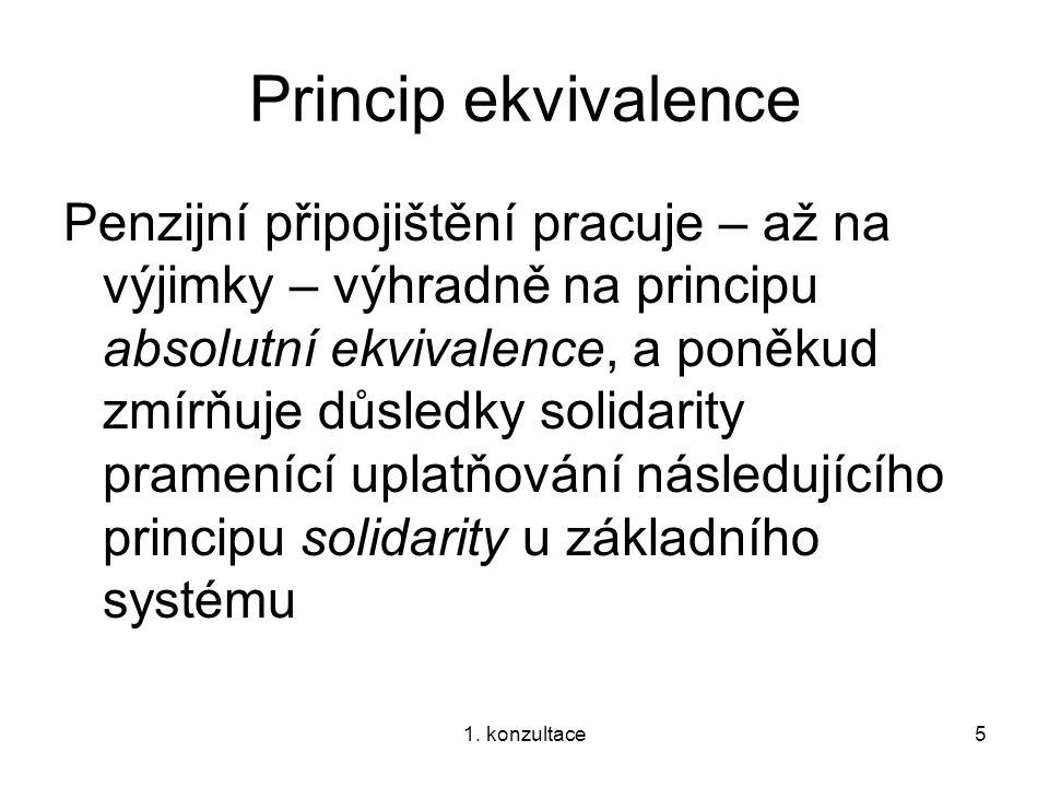 1. konzultace5 Princip ekvivalence Penzijní připojištění pracuje – až na výjimky – výhradně na principu absolutní ekvivalence, a poněkud zmírňuje důsl