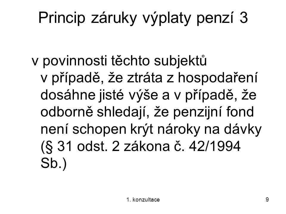 1. konzultace9 Princip záruky výplaty penzí 3 v povinnosti těchto subjektů v případě, že ztráta z hospodaření dosáhne jisté výše a v případě, že odbor