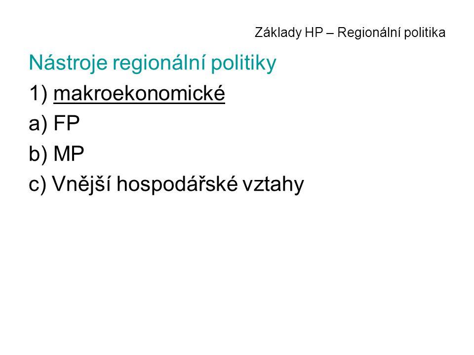 Základy HP – Regionální politika Nástroje regionální politiky 1) makroekonomické a) FP b) MP c) Vnější hospodářské vztahy