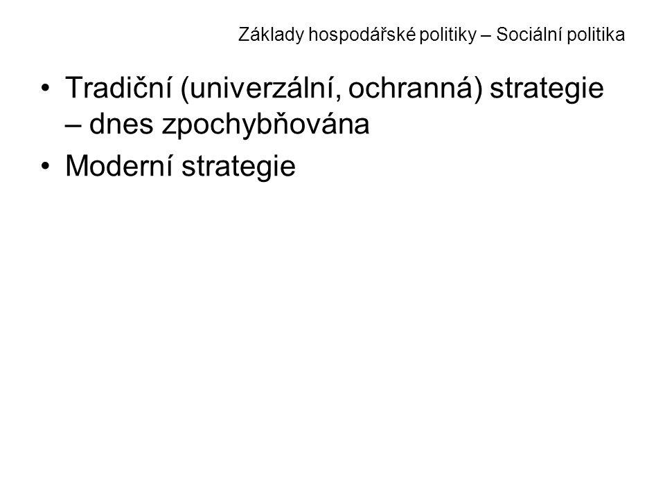 Základy hospodářské politiky – Sociální politika Tradiční (univerzální, ochranná) strategie – dnes zpochybňována Moderní strategie