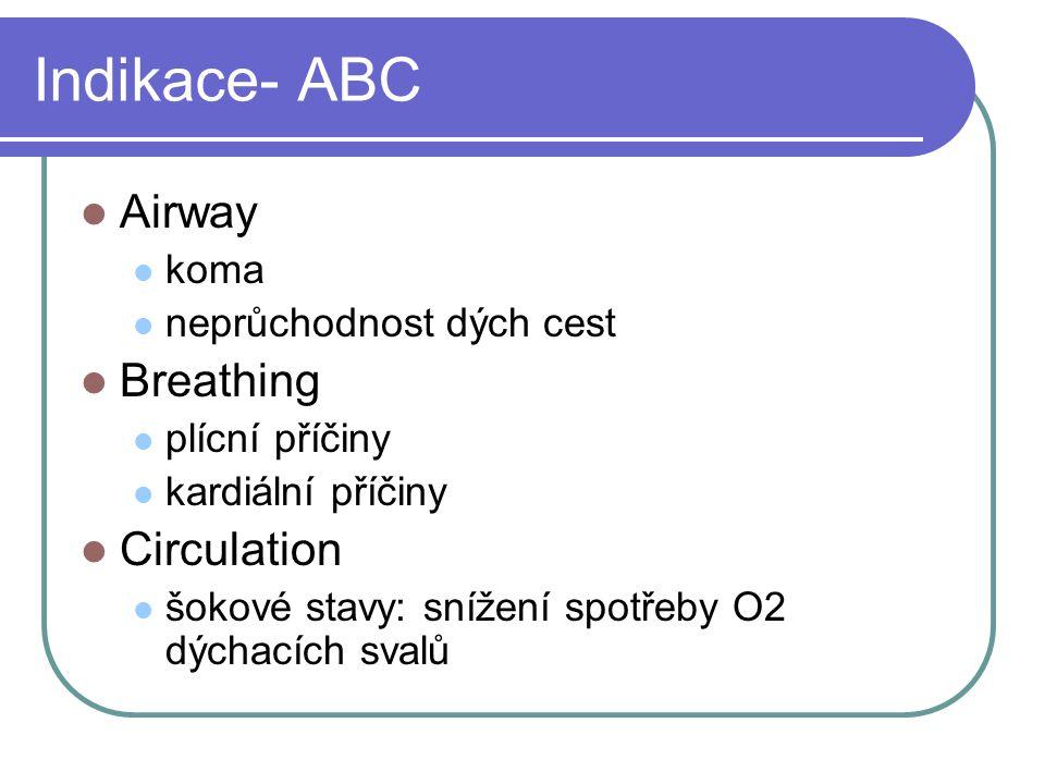 Indikace- ABC Airway koma neprůchodnost dých cest Breathing plícní příčiny kardiální příčiny Circulation šokové stavy: snížení spotřeby O2 dýchacích s