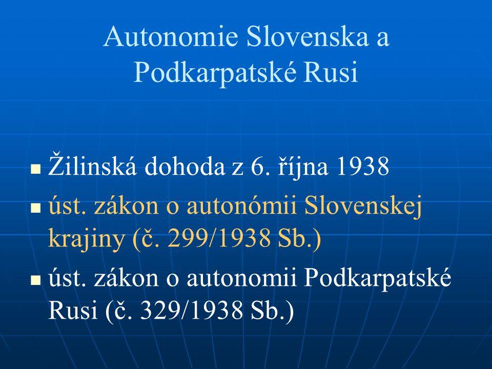 Autonomie Slovenska a Podkarpatské Rusi Žilinská dohoda z 6.
