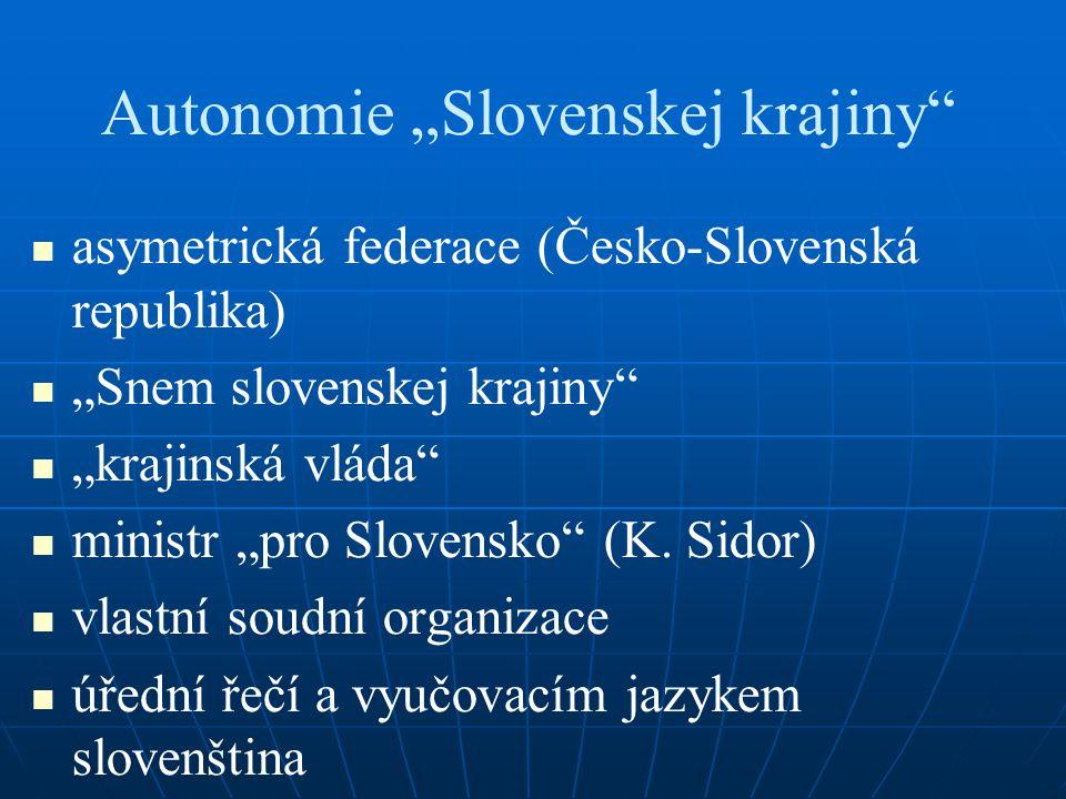 """Autonomie """"Slovenskej krajiny asymetrická federace (Česko-Slovenská republika) """"Snem slovenskej krajiny """"krajinská vláda ministr """"pro Slovensko (K."""