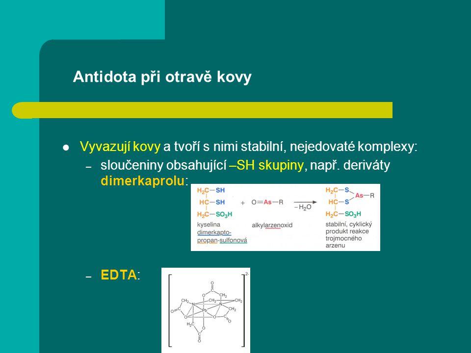 Antidota při otravě kovy Vyvazují kovy a tvoří s nimi stabilní, nejedovaté komplexy: – sloučeniny obsahující –SH skupiny, např. deriváty dimerkaprolu: