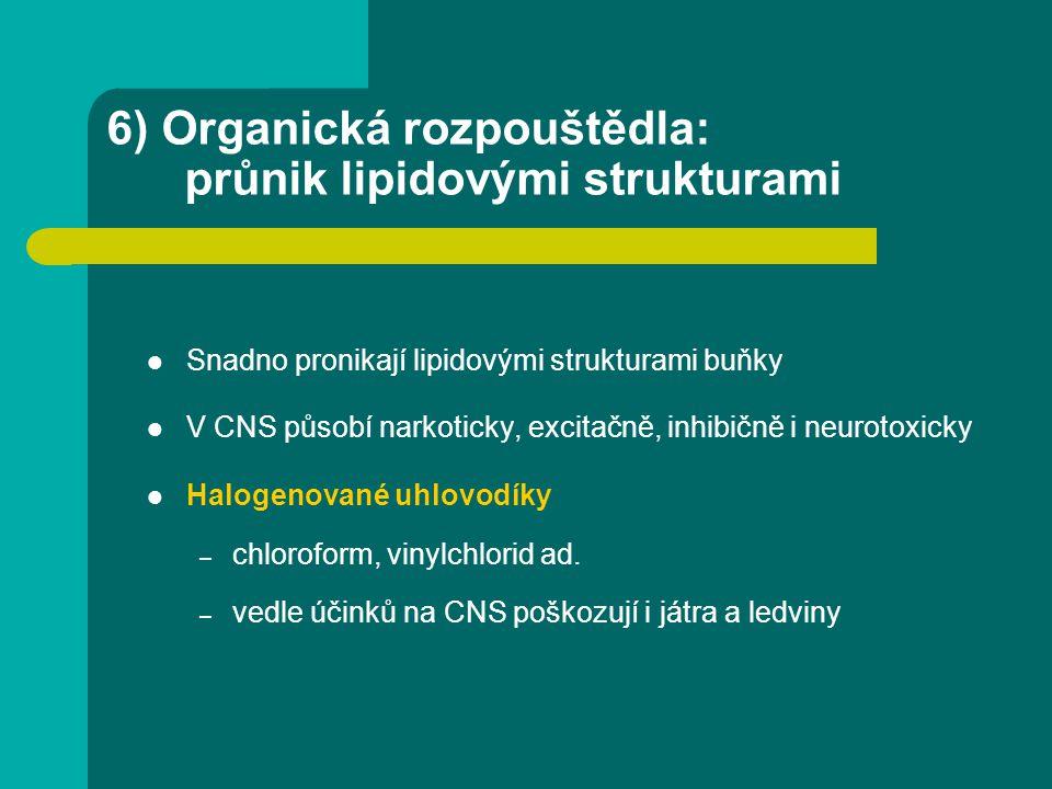 6) Organická rozpouštědla: průnik lipidovými strukturami Snadno pronikají lipidovými strukturami buňky V CNS působí narkoticky, excitačně, inhibičně i