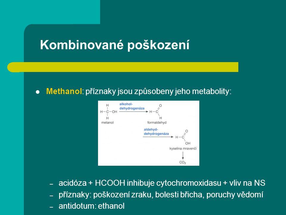 Kombinované poškození Methanol: příznaky jsou způsobeny jeho metabolity: – acidóza + HCOOH inhibuje cytochromoxidasu + vliv na NS – příznaky: poškozen