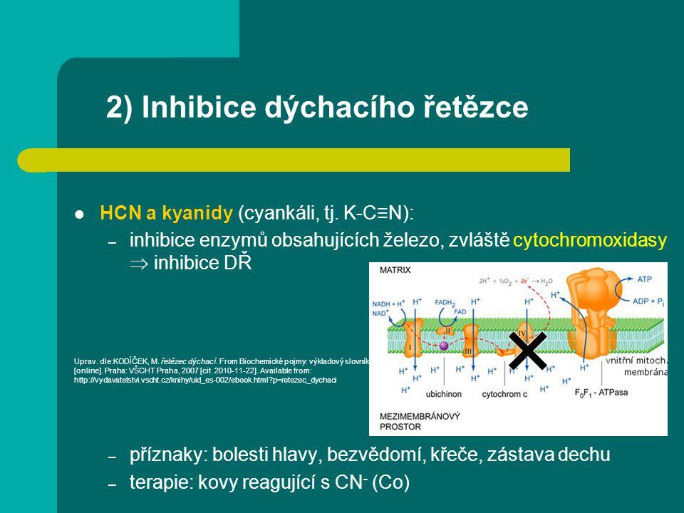 2) Inhibice dýchacího řetězce HCN a kyanidy (cyankáli, tj. K-C≡N): – inhibice enzymů obsahujících železo, zvláště cytochromoxidasy  inhibice DŘ – pří