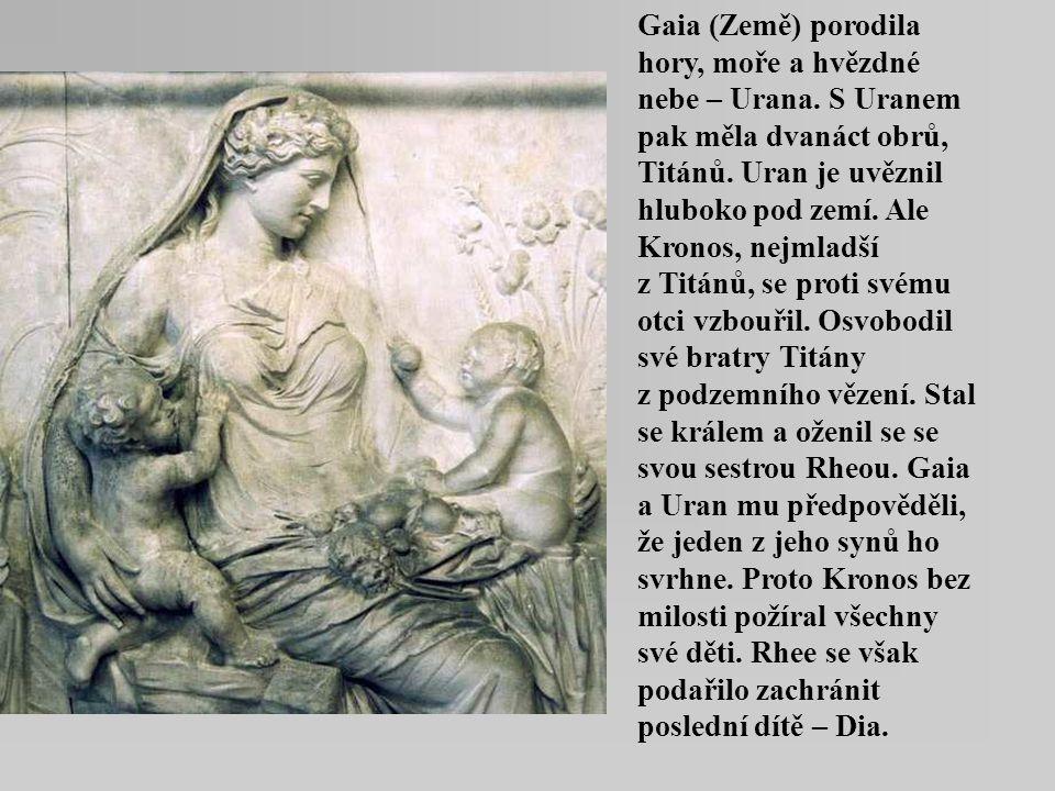 Gaia (Země) porodila hory, moře a hvězdné nebe – Urana. S Uranem pak měla dvanáct obrů, Titánů. Uran je uvěznil hluboko pod zemí. Ale Kronos, nejmladš
