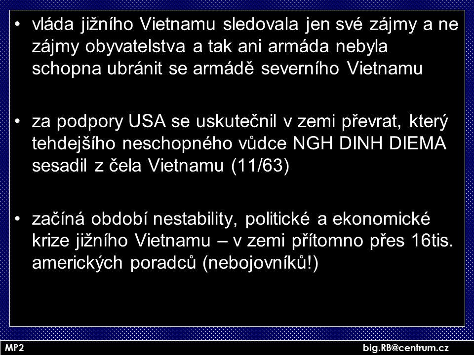 MP2 big.RB@centrum.cz vláda jižního Vietnamu sledovala jen své zájmy a ne zájmy obyvatelstva a tak ani armáda nebyla schopna ubránit se armádě severní