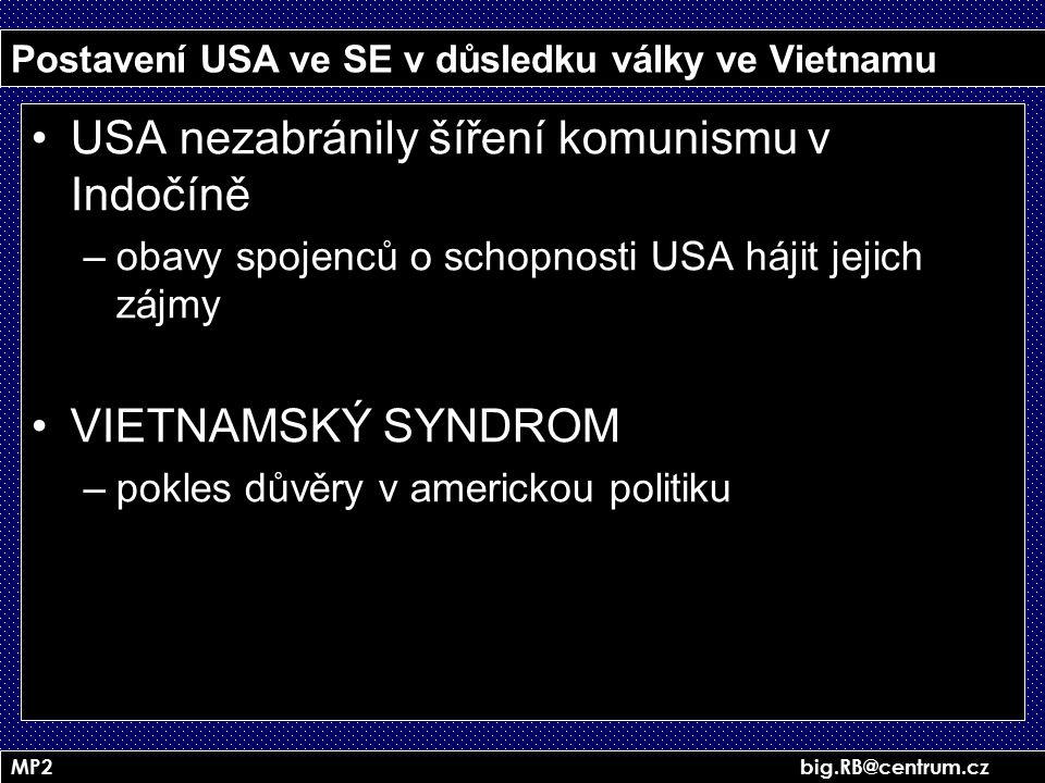 MP2 big.RB@centrum.cz Postavení USA ve SE v důsledku války ve Vietnamu USA nezabránily šíření komunismu v Indočíně –obavy spojenců o schopnosti USA há