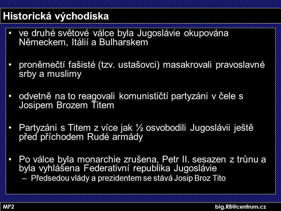 MP2 big.RB@centrum.cz Historická východiska ve druhé světové válce byla Jugoslávie okupována Německem, Itálií a Bulharskem proněmečtí fašisté (tzv. us