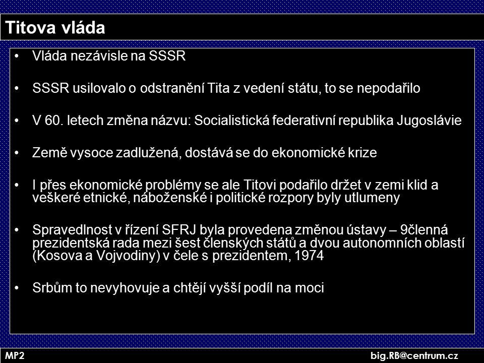 MP2 big.RB@centrum.cz Titova vláda Vláda nezávisle na SSSR SSSR usilovalo o odstranění Tita z vedení státu, to se nepodařilo V 60. letech změna názvu: