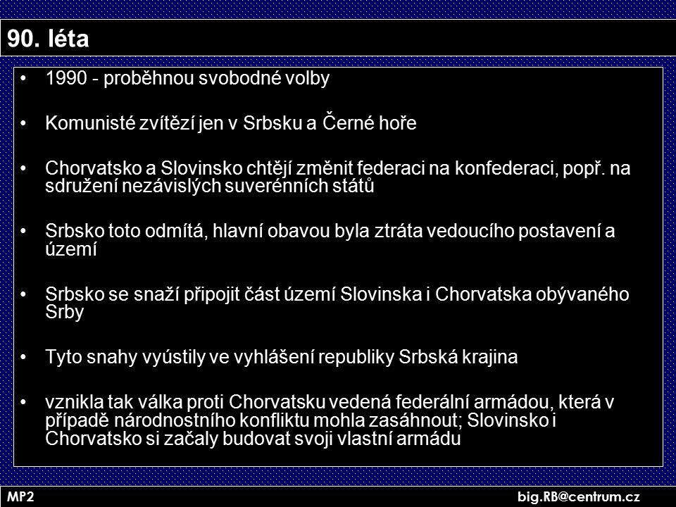 MP2 big.RB@centrum.cz 90. léta 1990 - proběhnou svobodné volby Komunisté zvítězí jen v Srbsku a Černé hoře Chorvatsko a Slovinsko chtějí změnit federa