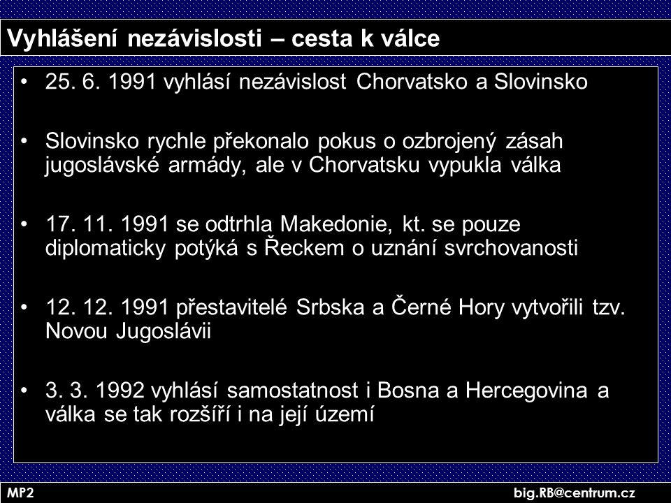 MP2 big.RB@centrum.cz Vyhlášení nezávislosti – cesta k válce 25. 6. 1991 vyhlásí nezávislost Chorvatsko a Slovinsko Slovinsko rychle překonalo pokus o
