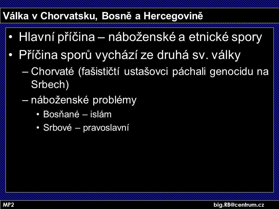 MP2 big.RB@centrum.cz Válka v Chorvatsku, Bosně a Hercegovině Hlavní příčina – náboženské a etnické spory Příčina sporů vychází ze druhá sv. války –Ch