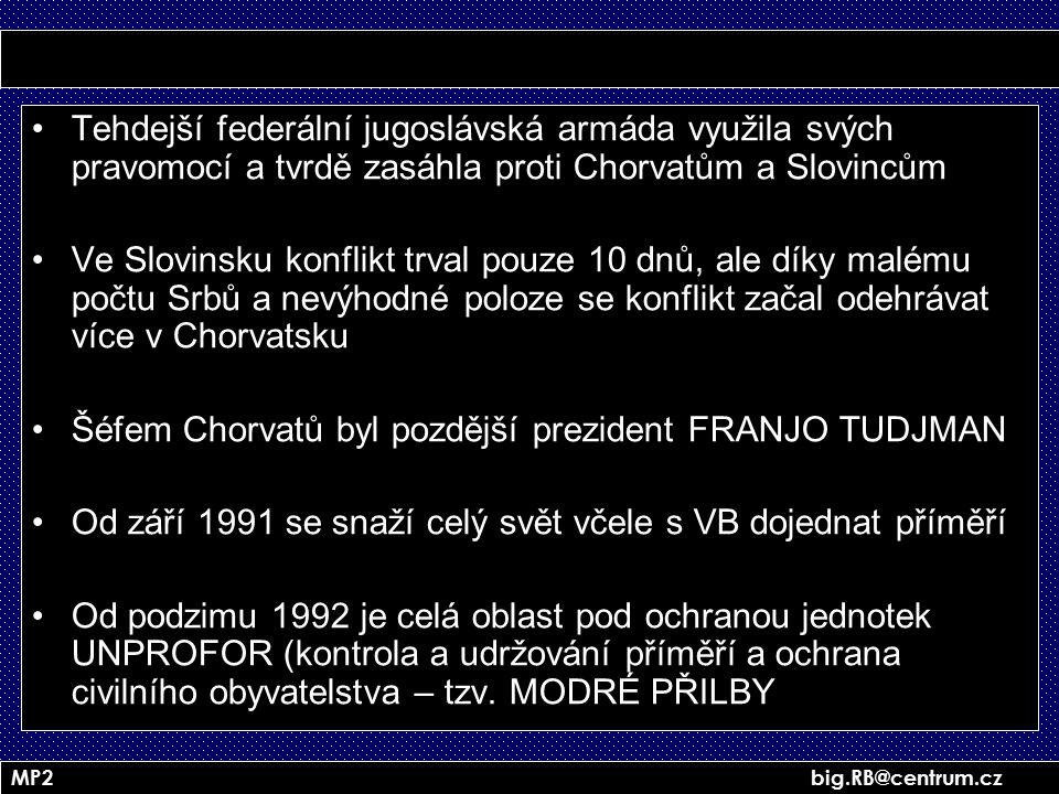 MP2 big.RB@centrum.cz Tehdejší federální jugoslávská armáda využila svých pravomocí a tvrdě zasáhla proti Chorvatům a Slovincům Ve Slovinsku konflikt