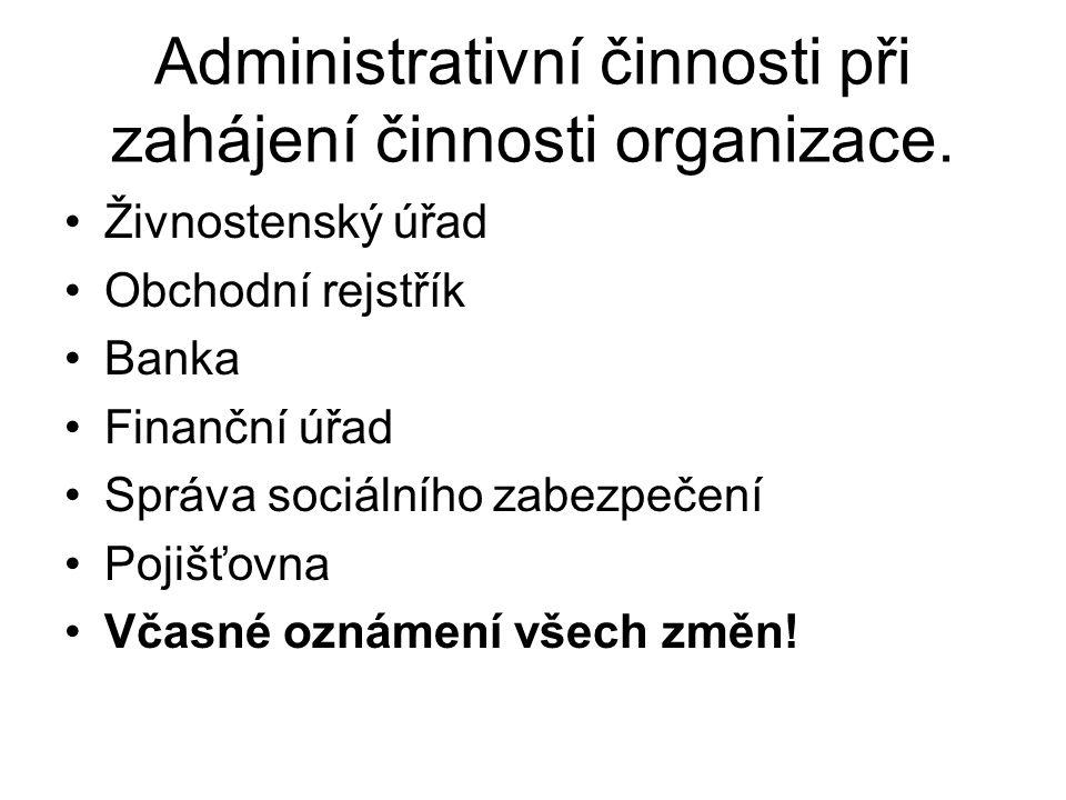 Administrativní činnosti při zahájení činnosti organizace. Živnostenský úřad Obchodní rejstřík Banka Finanční úřad Správa sociálního zabezpečení Pojiš