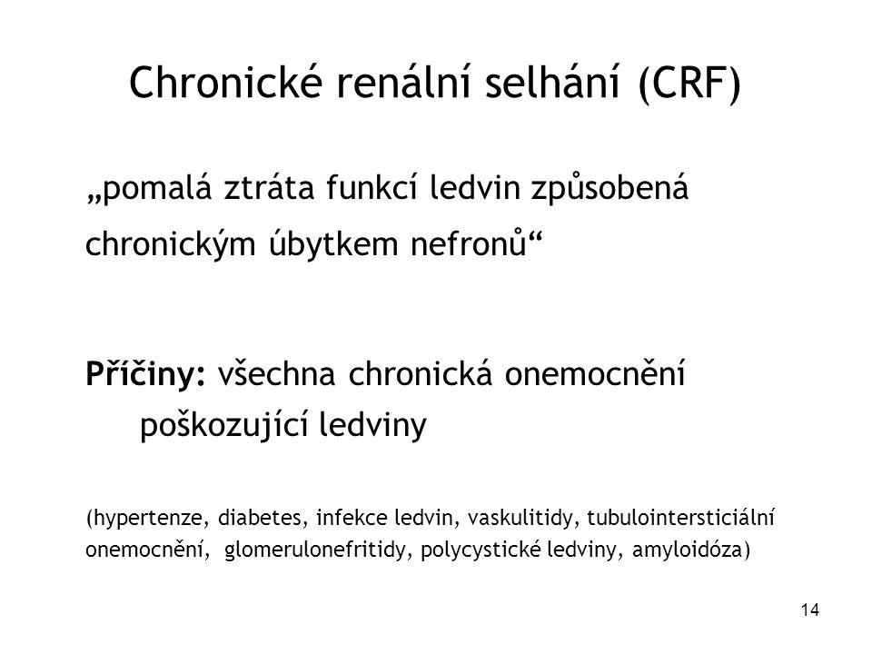 """14 Chronické renální selhání (CRF) """"pomalá ztráta funkcí ledvin způsobená chronickým úbytkem nefronů"""" Příčiny: všechna chronická onemocnění poškozujíc"""
