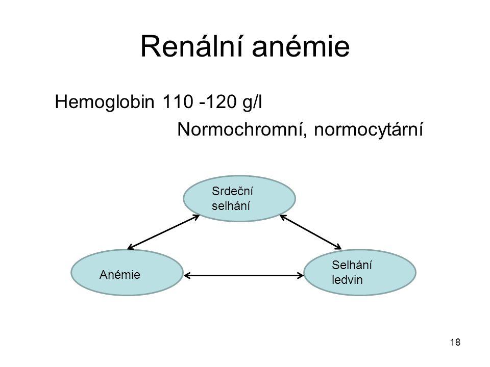 18 Renální anémie Hemoglobin 110 -120 g/l Normochromní, normocytární Srdeční selhání Anémie Selhání ledvin