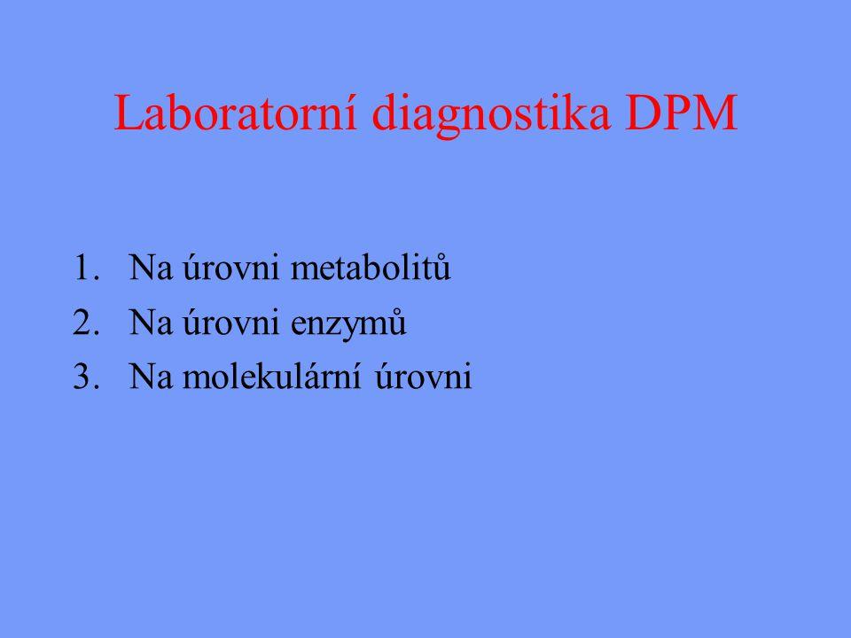 Laboratorní diagnostika DPM 1.Na úrovni metabolitů 2.Na úrovni enzymů 3.Na molekulární úrovni