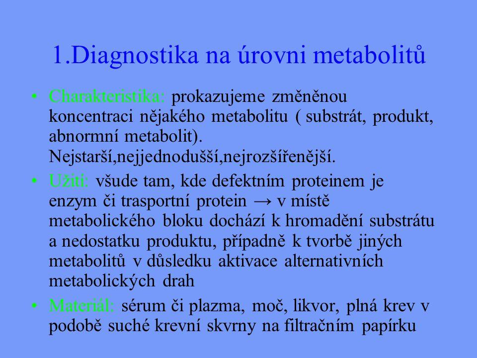 1.Diagnostika na úrovni metabolitů Charakteristika: prokazujeme změněnou koncentraci nějakého metabolitu ( substrát, produkt, abnormní metabolit).