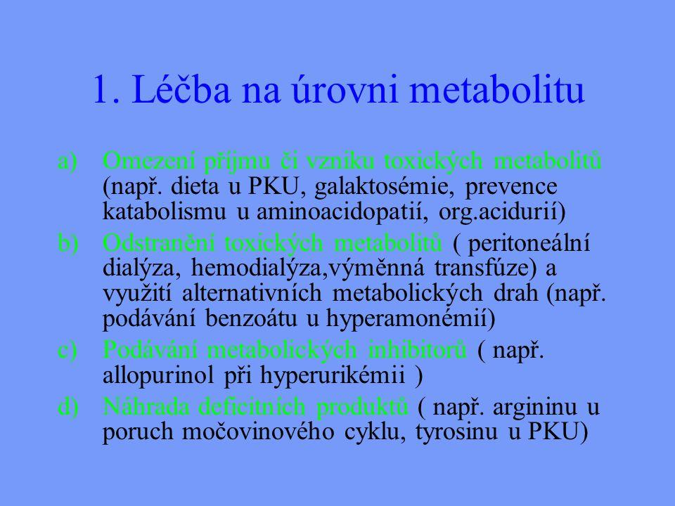 1.Léčba na úrovni metabolitu a)Omezení příjmu či vzniku toxických metabolitů (např.