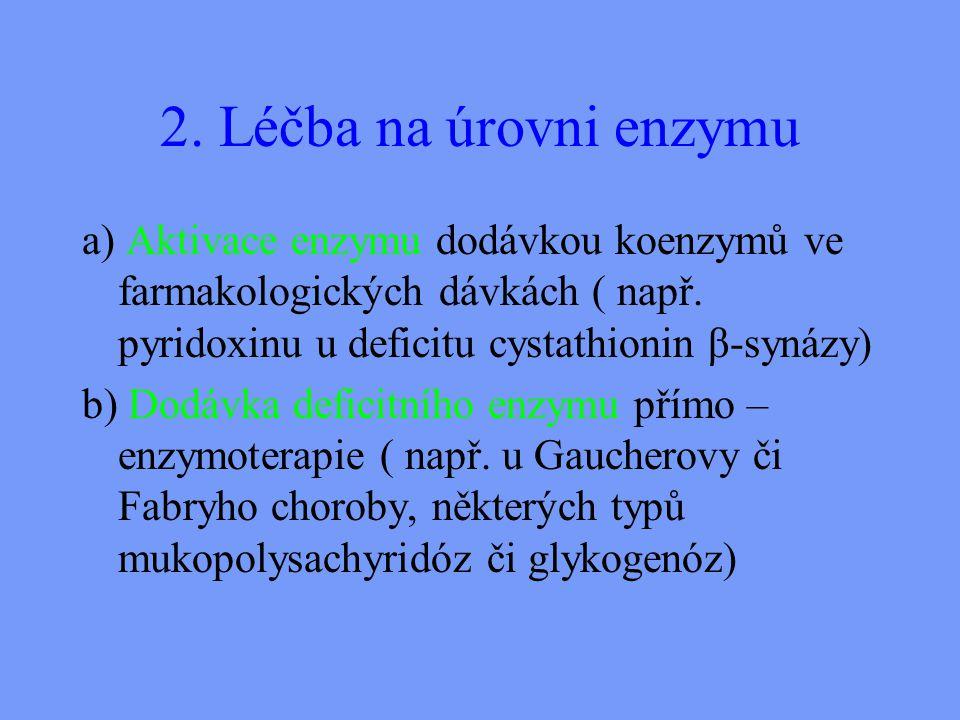2.Léčba na úrovni enzymu a) Aktivace enzymu dodávkou koenzymů ve farmakologických dávkách ( např.