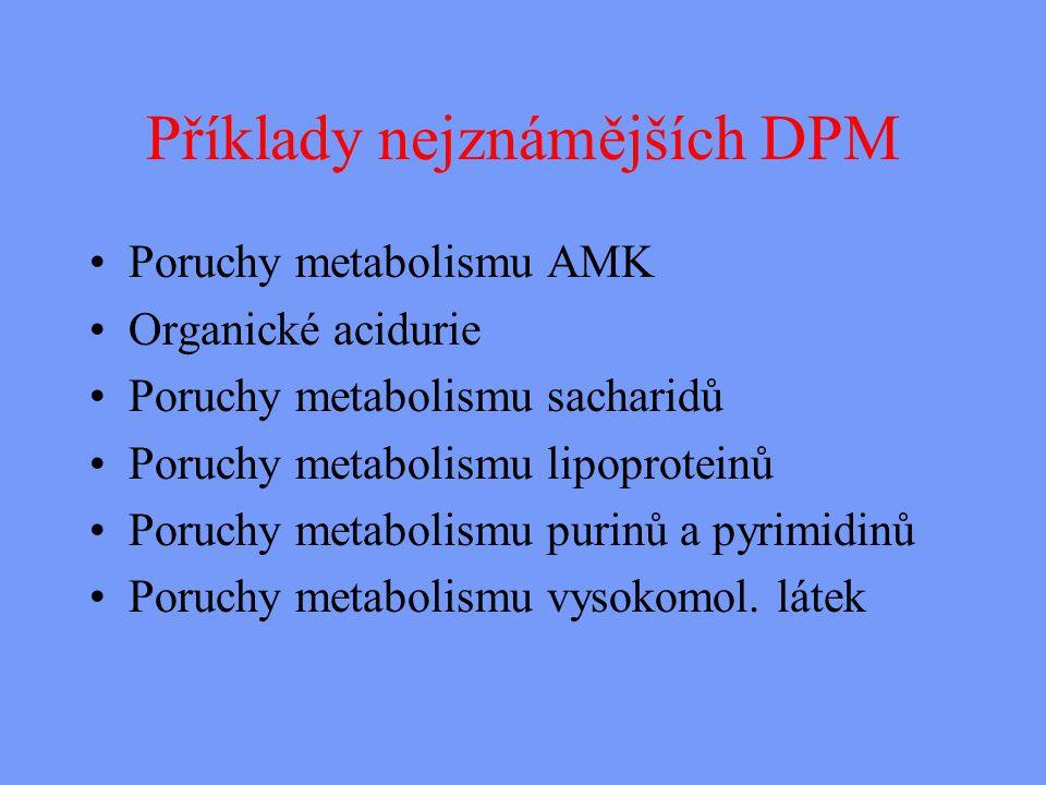 Příklady nejznámějších DPM Poruchy metabolismu AMK Organické acidurie Poruchy metabolismu sacharidů Poruchy metabolismu lipoproteinů Poruchy metabolismu purinů a pyrimidinů Poruchy metabolismu vysokomol.