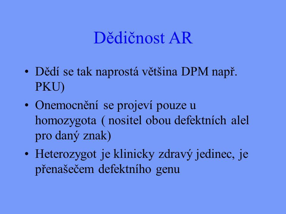 Dědičnost AR Dědí se tak naprostá většina DPM např.