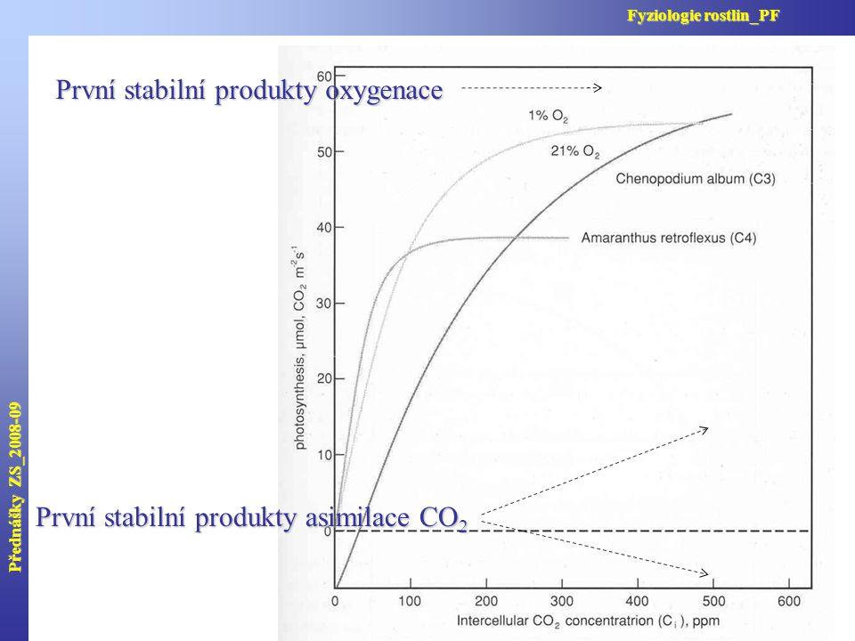 První stabilní produkty asimilace CO 2 První stabilní produkty oxygenace Přednášky ZS_2008-09 Fyziologie rostlin_PF