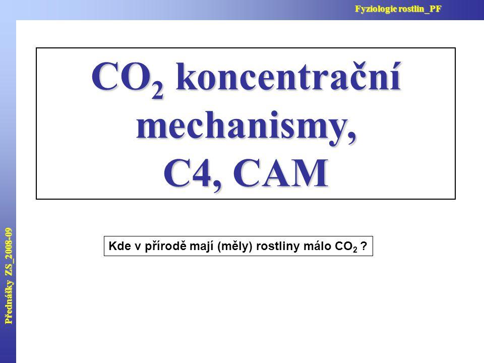 CO 2 koncentrační mechanismy, C4, CAM Kde v přírodě mají (měly) rostliny málo CO 2 ? Přednášky ZS_2008-09 Fyziologie rostlin_PF