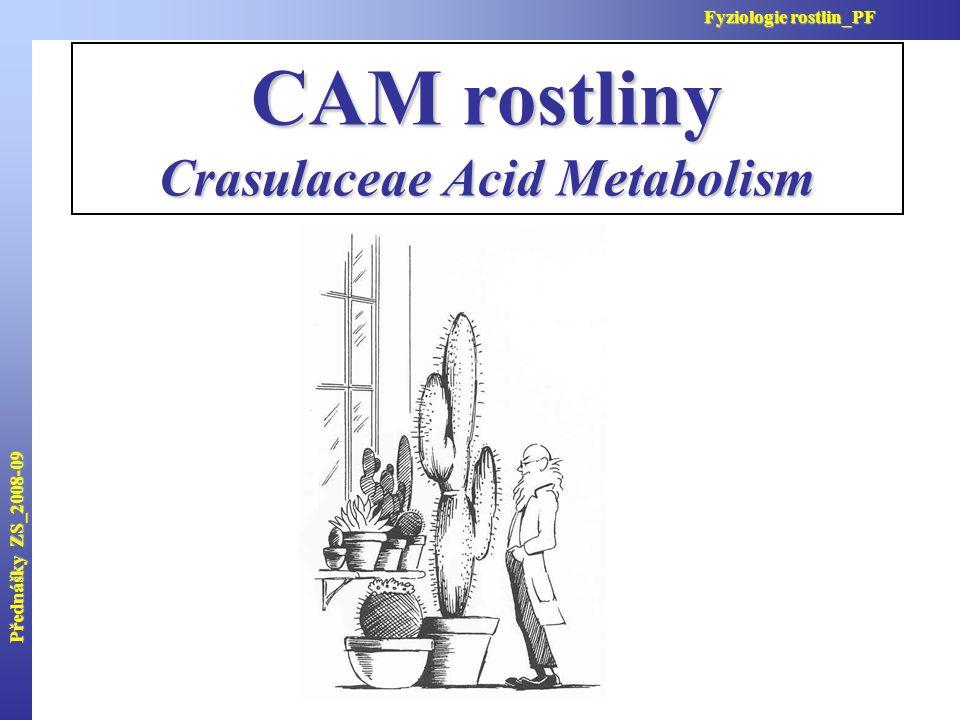 CAM rostliny Crasulaceae Acid Metabolism Přednášky ZS_2008-09 Fyziologie rostlin_PF