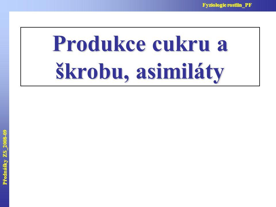 Produkce cukru a škrobu, asimiláty Přednášky ZS_2008-09 Fyziologie rostlin_PF