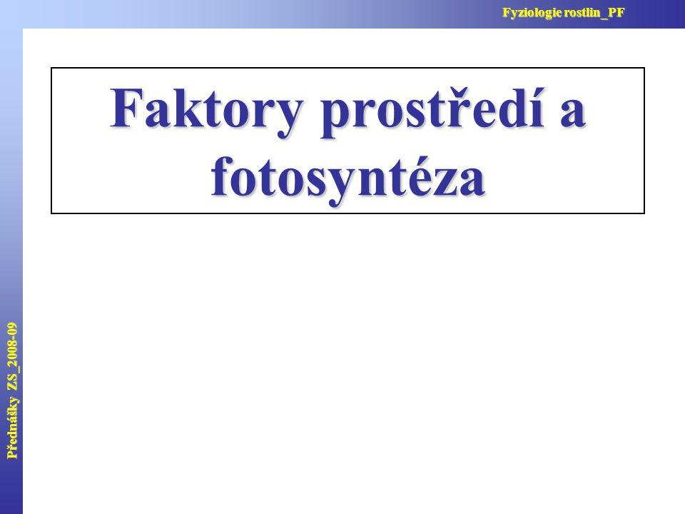 Faktory prostředí a fotosyntéza Přednášky ZS_2008-09 Fyziologie rostlin_PF