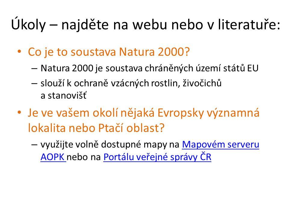 Úkoly – najděte na webu nebo v literatuře: Co je to soustava Natura 2000? – Natura 2000 je soustava chráněných území států EU – slouží k ochraně vzácn