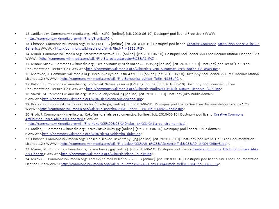 12. JanBlanicky. Commons.wikimedia.org: VBlanik.JPG [online]. [cit. 2010-06-10]. Dostupný pod licencí Free Use z WWW:. http://commons.wikimedia.org/wi