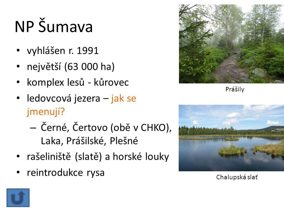 NP Šumava vyhlášen r. 1991 největší (63 000 ha) komplex lesů - kůrovec ledovcová jezera – jak se jmenují? – Černé, Čertovo (obě v CHKO), Laka, Prášils