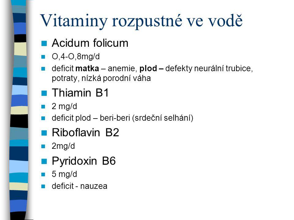 Vitaminy rozpustné ve vodě Acidum folicum O,4-O,8mg/d deficit matka – anemie, plod – defekty neurální trubice, potraty, nízká porodní váha Thiamin B1